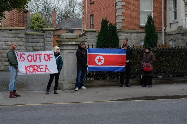 Outside the south Korean embassy, March 15, 2015, Dublin.